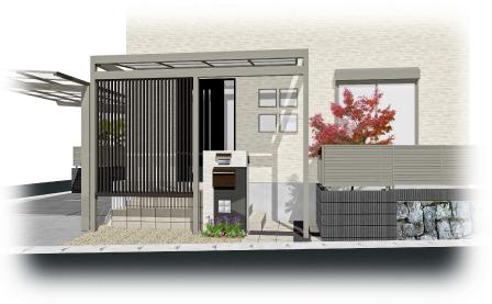 建築と一体化した玄関アプローチ