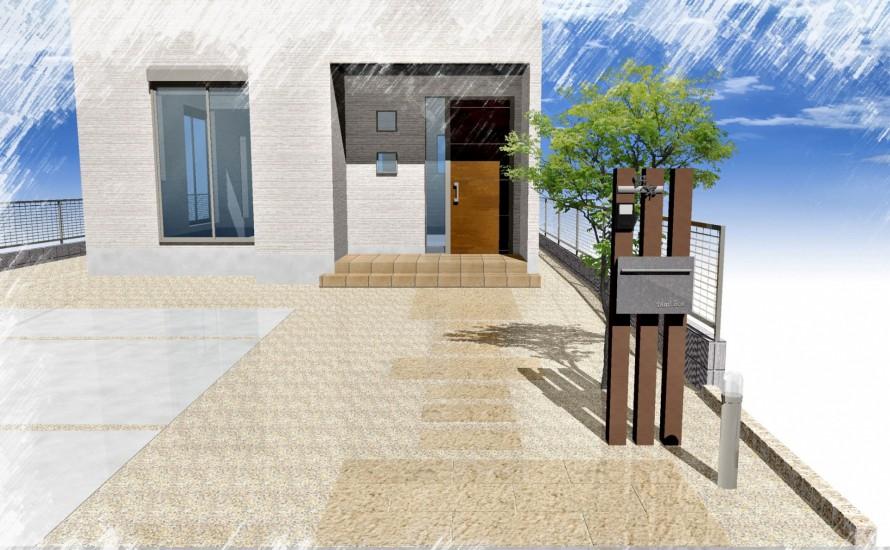 板石のアプローチと枕木材の門柱