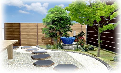 ガーデンルームから眺める坪庭