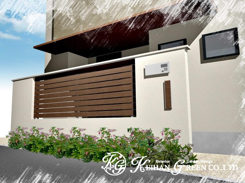 建物に合わせたデザイン門柱