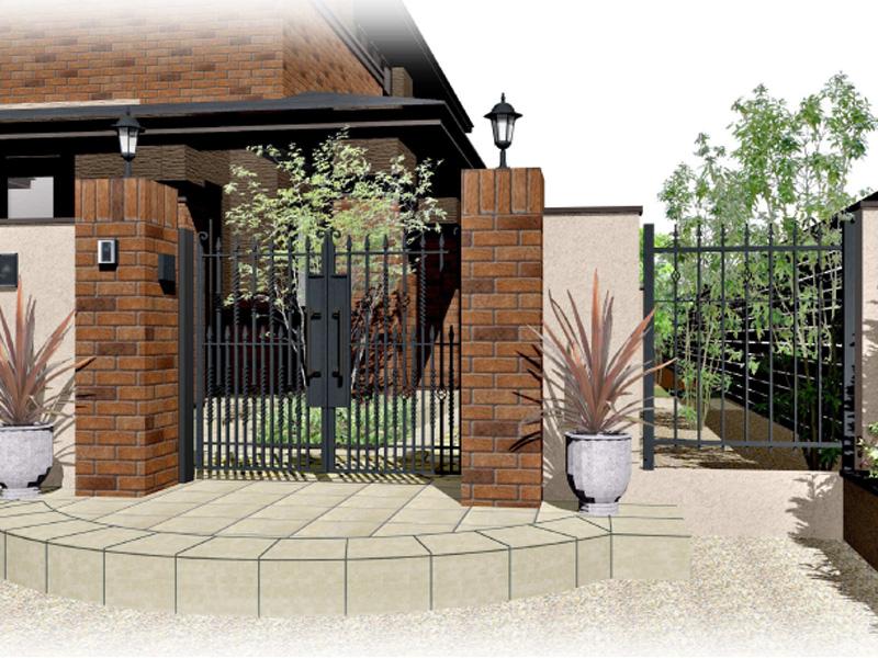 鋳物門扉が美しいクローズ外構