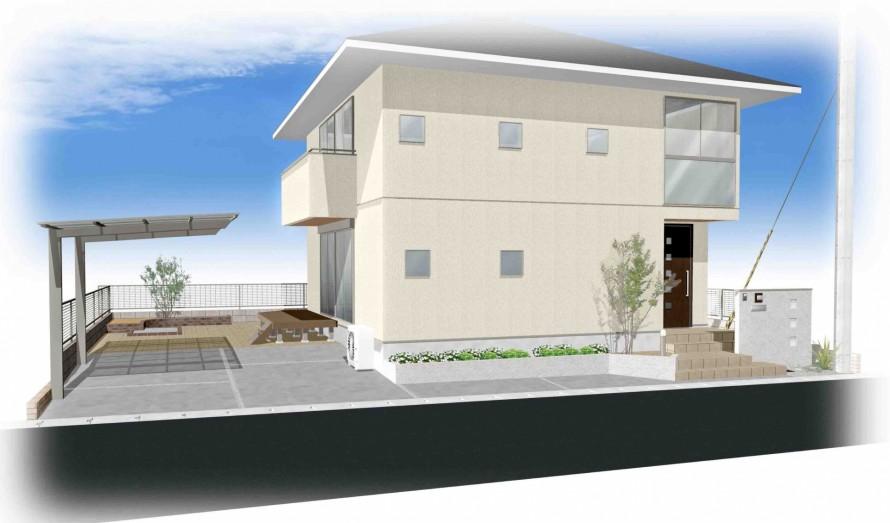 建築に沿ったシンプルなアプローチデザイン