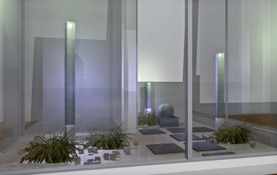 光る柱のモダンな中庭