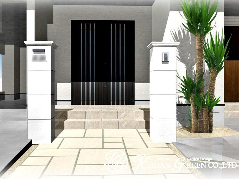 大理石風の門柱がオシャレ