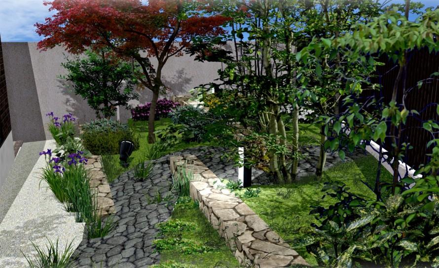 額縁仕立ての緑のお庭