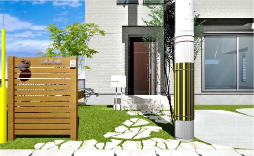 木目の美しいアルミの門柱