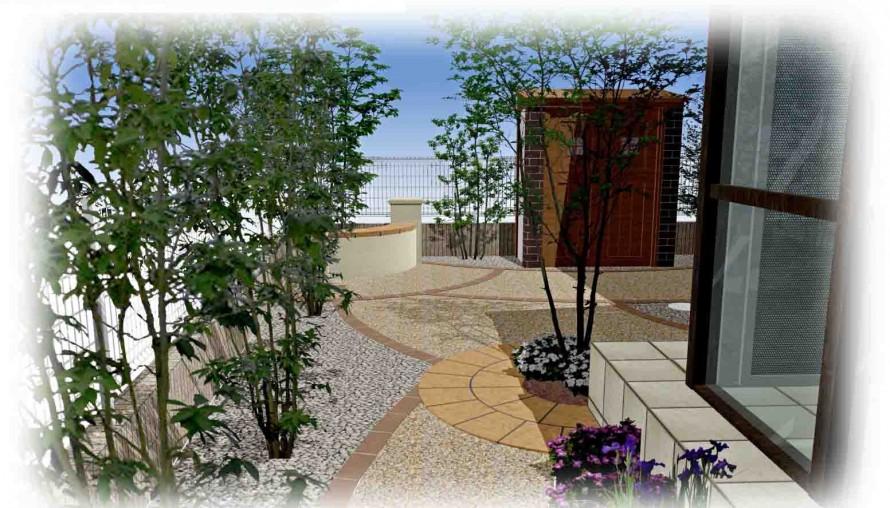 雑木林風の裏庭