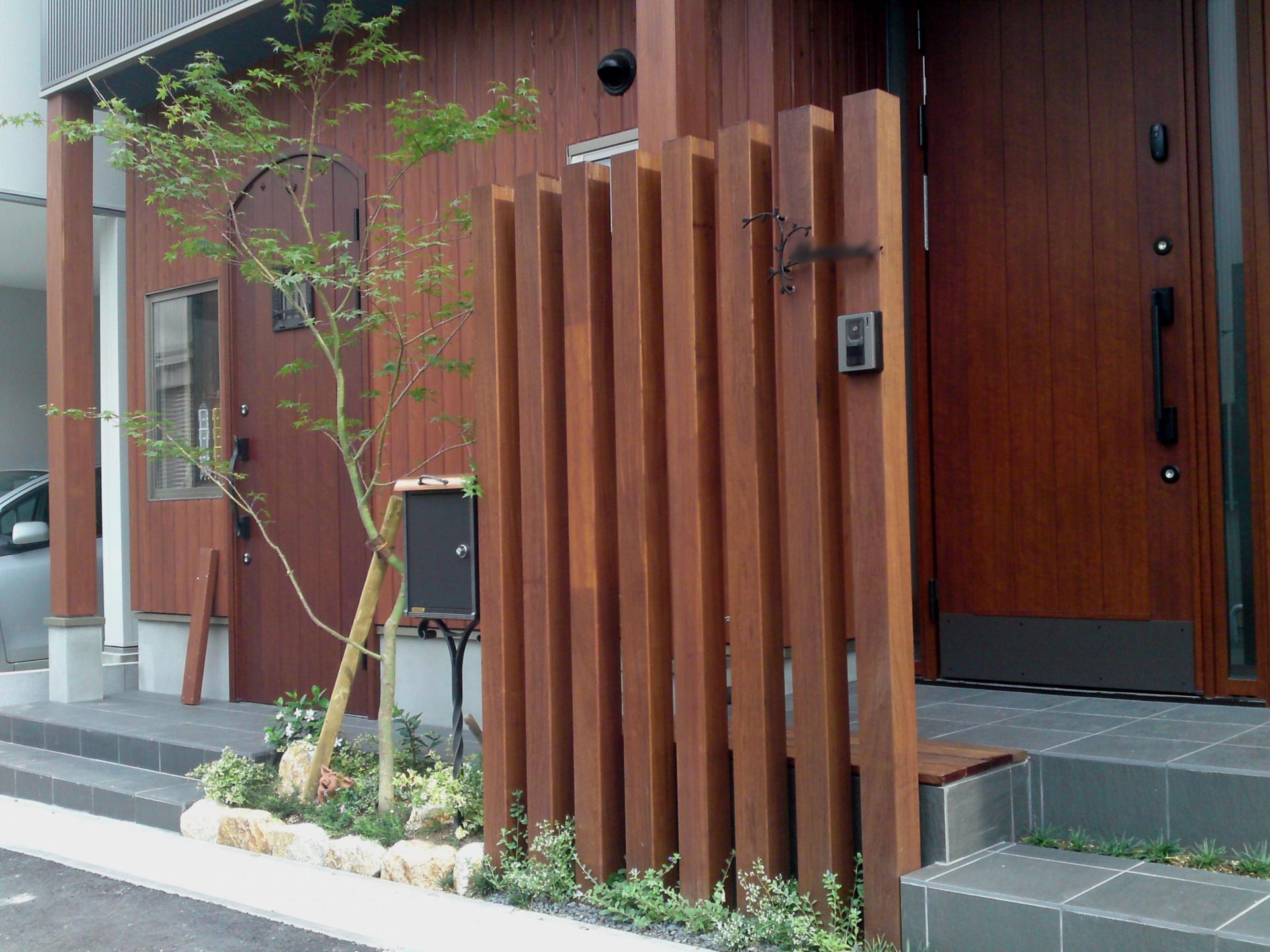 天然木に映えるメインツリーのモミジ  大津市