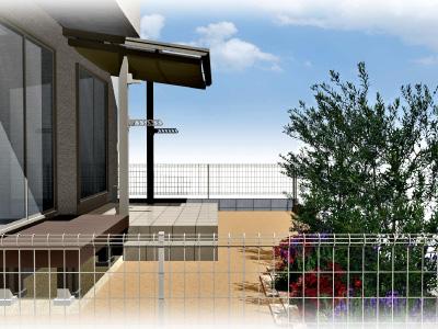タイルテラスのあるお庭