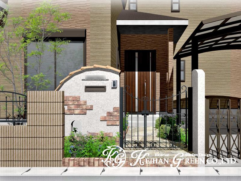 レンガでデザインした可愛い門扉