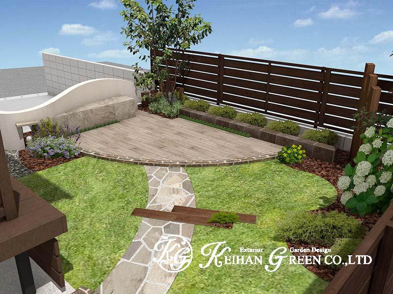 曲線でデザインした多目的なお庭はアウトドアリビングにぴったり