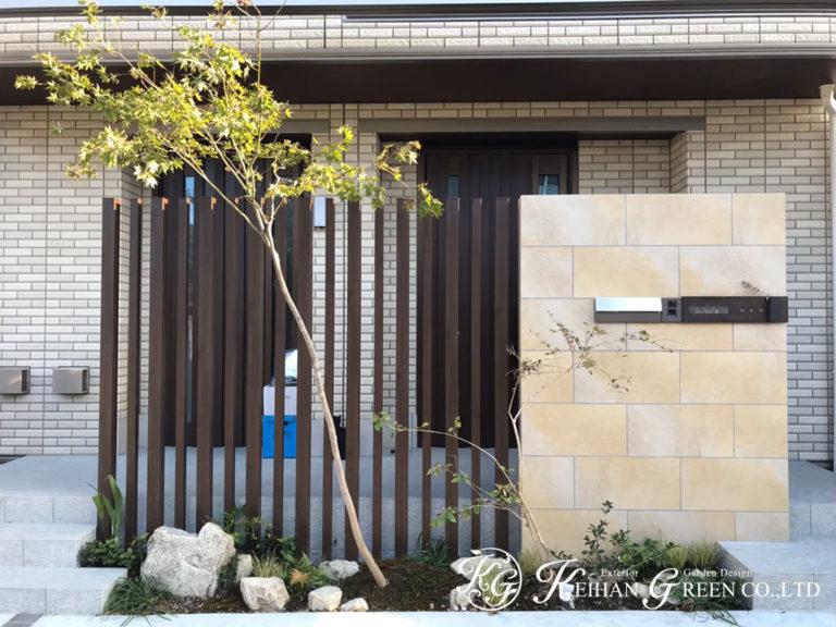 駐車スペースからエントランス・アプローチまで一体感のあるデザイン 大津市