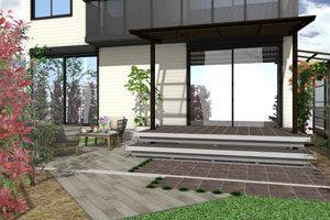 ウッドデッキと庭が一体化。広々寛げる空間に。 大津市