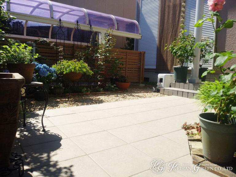バラの似合うお手入れのしやすいお庭へリニューアル 大津市