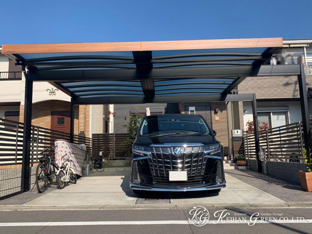 お家を引き立て、外観の主役となる豪華なカーポート 京都市