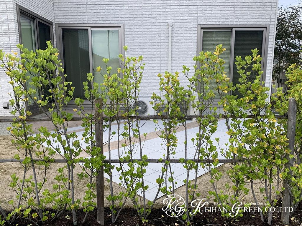 木調タイルがアクセント。緑が映えるナチュラルなタイルデッキ 野洲市