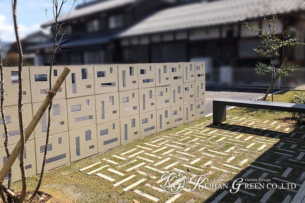 花ブロックが印象的なナチュラル外構 米原市