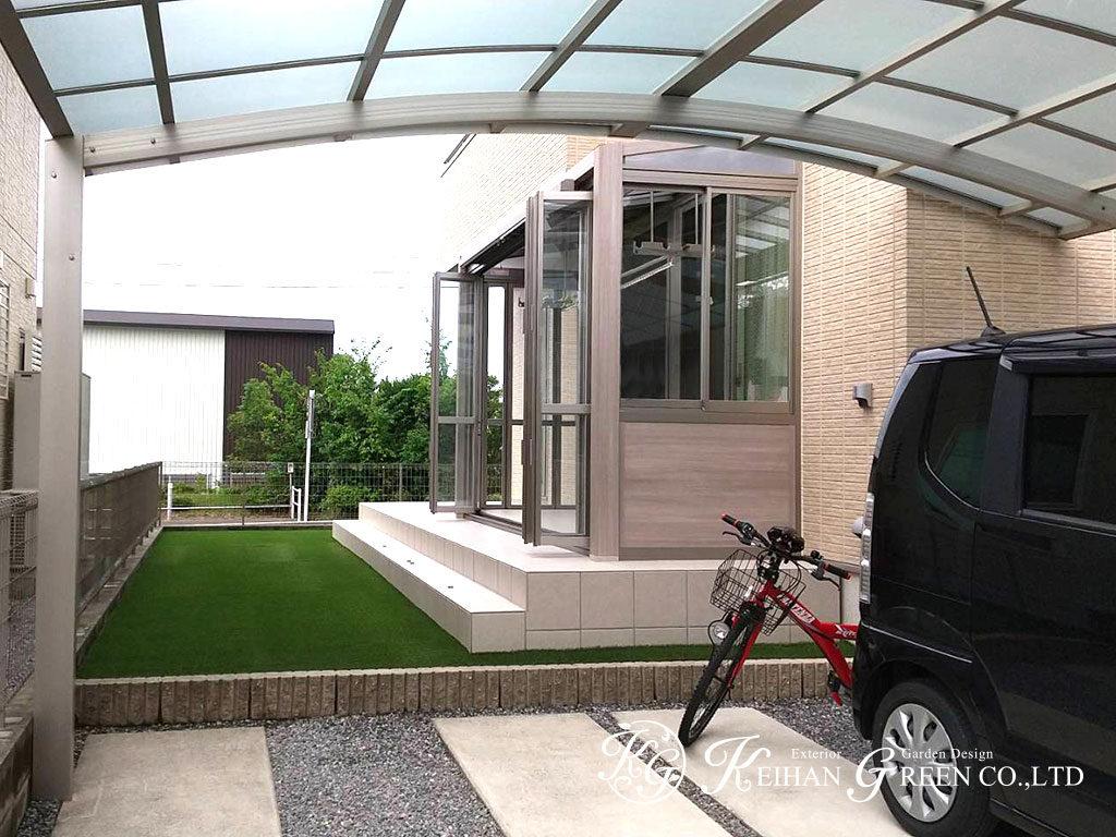タイルデッキとガーデンルームでおうち時間を満喫できるお庭に 彦根市